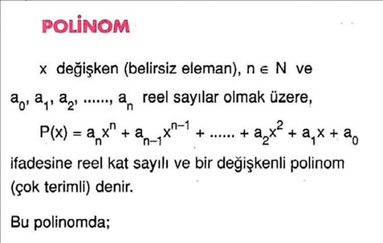 Polinomlar Konu Anlatım ve Çözümlü Sorular